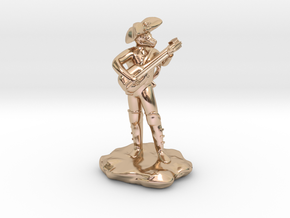 Dragonborn Pirate Bard with Lute and Crossbow in 14k Rose Gold Plated