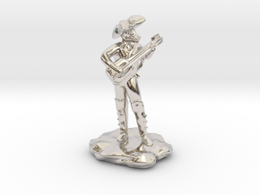 Dragonborn Pirate Bard with Lute and Crossbow in Rhodium Plated Brass