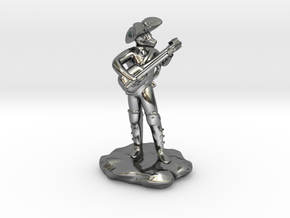 Dragonborn Pirate Bard with Lute and Crossbow in Fine Detail Polished Silver