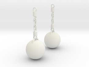 Wrecking Ball Earing in White Natural Versatile Plastic
