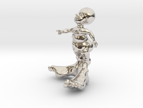BIG FOOT KID 3'' in Rhodium Plated Brass