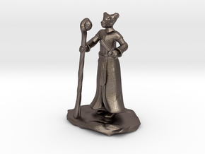 D&D Dragonborn Sorcerer Mini in Polished Bronzed Silver Steel
