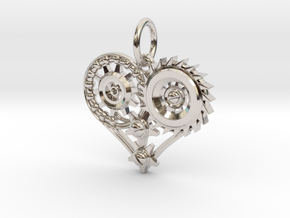 Mech Heart Pendant Mini in Platinum