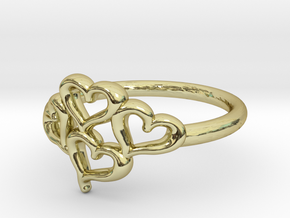 Hearts Ring in 18k Gold Plated Brass