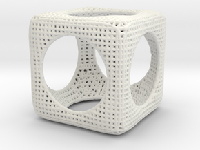CubeSphere math art in White Natural Versatile Plastic