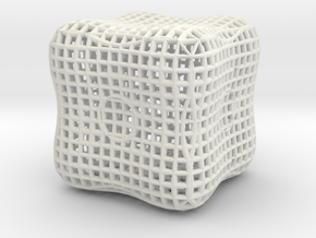 RoundCube math art in White Natural Versatile Plastic