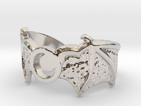 Crescent Wings Ring Size 7 in Rhodium Plated Brass