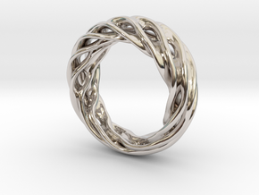 Fluid Wave Ring in Rhodium Plated Brass