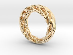 Fluid Wave Ring in 14k Gold Plated Brass