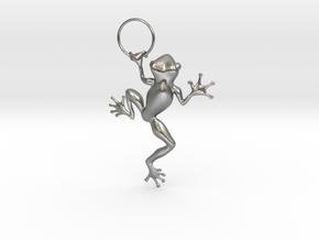 Frog Hug Pendant in Natural Silver