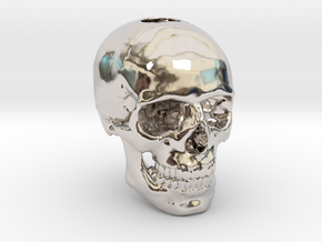 25mm 1in Keychain Bead Human Skull in Rhodium Plated Brass