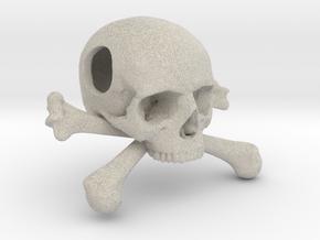 25mm 1in Bead Skull & Bones Pendant Crane in Natural Sandstone