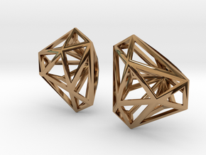 Twisted Triangle Earrings in Polished Brass
