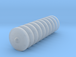 28mm scale round metal shields in Smooth Fine Detail Plastic