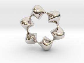 0059 AntisymmetricTorus (p=6.0) #008 in Rhodium Plated Brass