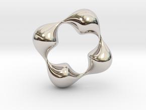0057 Antisymmetric Torus (p=4.0) #006 in Rhodium Plated Brass