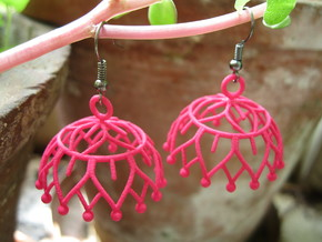 Lotus Jhumka - Indian Bell Earrings in Pink Processed Versatile Plastic