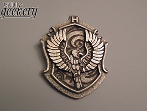 Ravenclaw House Crest - Pendant LARGE in Polished Bronzed Silver Steel