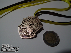 Hufflepuff House Crest - Pendant SMALL in Polished Bronzed Silver Steel