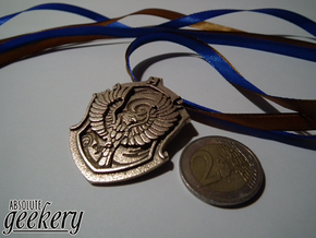 Ravenclaw House Crest - Pendant SMALL in Polished Bronzed Silver Steel