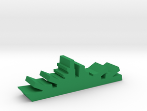 Game Piece, WW2 Battleship in Green Processed Versatile Plastic