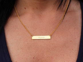 Aloha Name Plate Necklace in 14k Gold Plated Brass