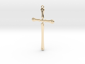 Simple Cross in 14k Gold Plated Brass