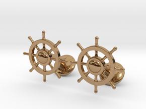 Ship Rudder Cufflinks in Polished Brass