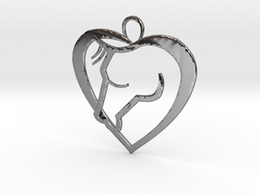 Heart Horse Pendant in Fine Detail Polished Silver