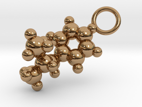 Methamphetamine Molecule Pendant - 20mm  in Polished Brass