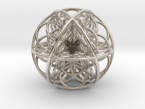 Seed Of Life Sacred Geometry 35x1.2mm in Rhodium Plated Brass