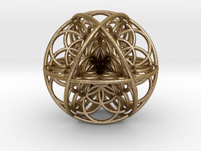 Seed Of Life Sacred Geometry 35x1.2mm in Polished Gold Steel