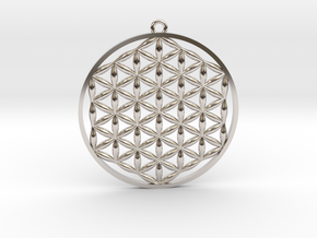 Flower Of Life Pendant in Rhodium Plated Brass