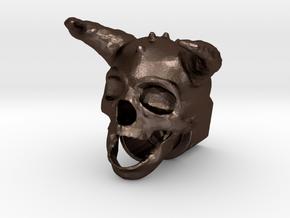 Horned Skull BarrelEnd 14 CCW in Matte Bronze Steel