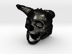 Horned Skull BarrelEnd 14 CCW in Matte Black Steel