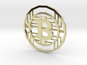 Bitcoin Pin in 18k Gold