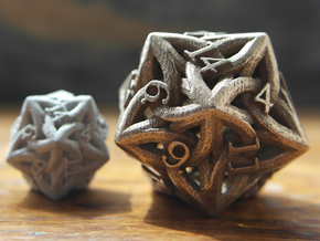 Large Celtic D20 in Polished Bronzed Silver Steel