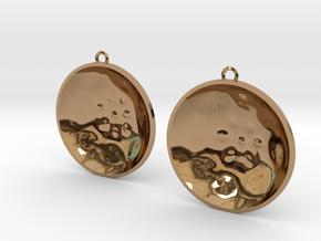 """Double Tenor """"surface"""" steelpan earrings, L in Polished Brass"""