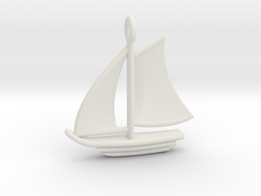 Sailboat Pendant in White Natural Versatile Plastic
