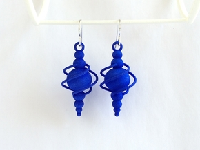 Synchronal Earrings - 60's Space Age Jewelry in Blue Strong & Flexible Polished