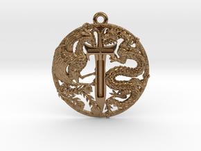 Dragon and Phoenix Pendant in Raw Brass