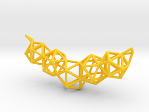 Icosahedron Frame Geometry Pendent in Yellow Processed Versatile Plastic