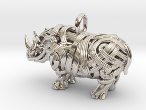 The Rhino Pendant  in Rhodium Plated Brass