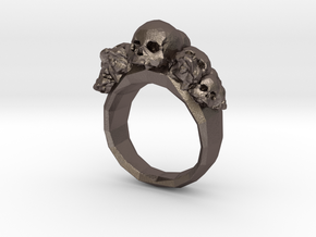 Pile of Skulls Ring Mens Size 20 in Polished Bronzed Silver Steel