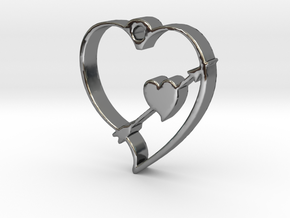 Cupid's Shot Heart Pendant  in Fine Detail Polished Silver