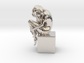 Girl On Box in Rhodium Plated Brass