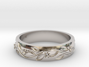 AB053 Floral Band in Rhodium Plated Brass