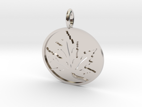 Leaf Pendant in Rhodium Plated