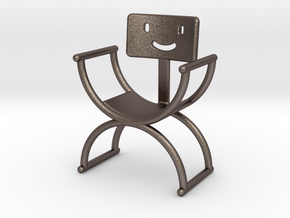 Happyback Chair in Polished Bronzed Silver Steel