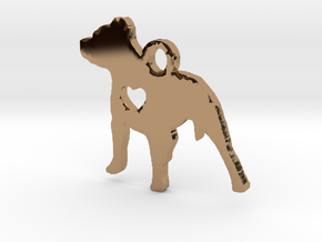 Pittie Love Pendant in Polished Brass